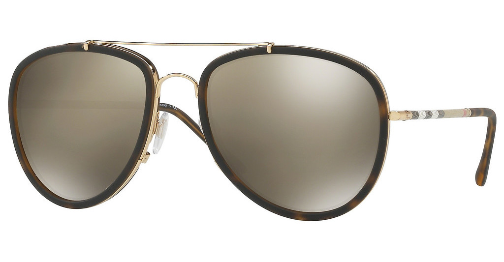 Burberry   BE3090Q 10525A LIGHT BROWN MIRROR DARK GOLDBRUSHED GOLD/MT DARK HAVANA